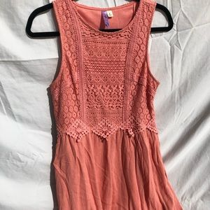 Coral High Low Dress With Lacy Detail